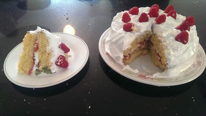 Raspberry Swiss Meringue Cake Slice