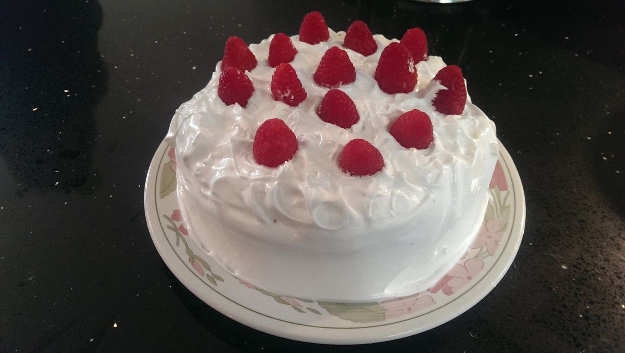 Raspberry Swiss Meringue Cake