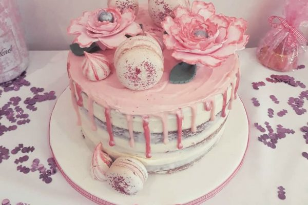 Baby Shower Pink Cake & Flowers