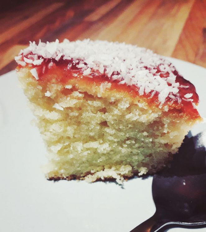 Old School Rasperry Jam Coconut Cake Recipe Slice